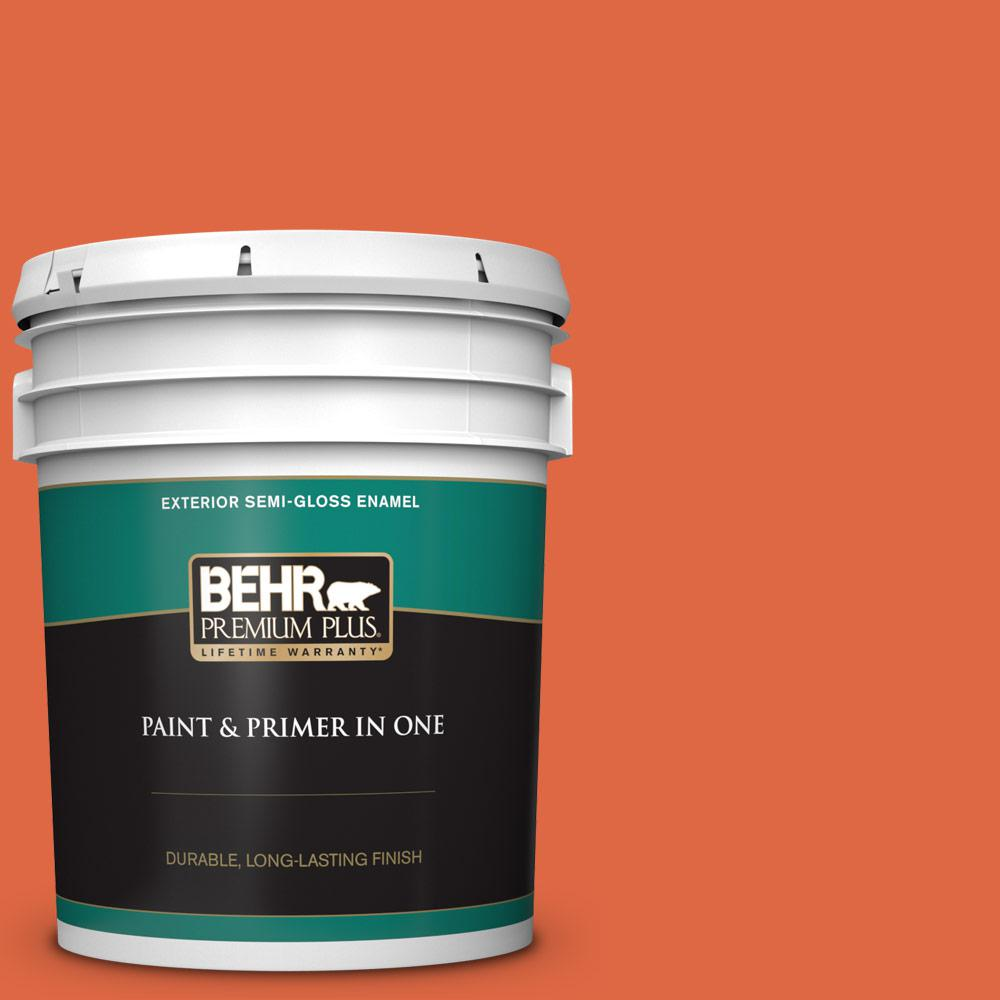 5 gal. #P200-7 Bonfire Night Semi-Gloss Enamel Exterior Paint and Primer in One