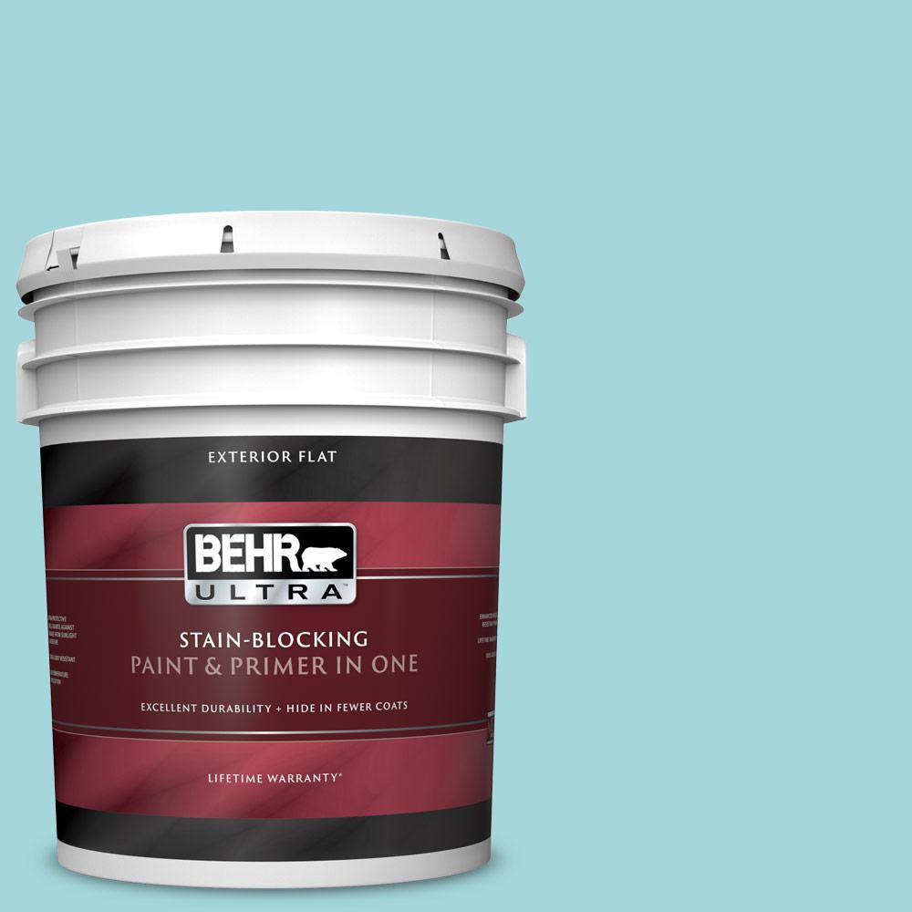 5 gal. #520C-3 Rapture Blue Flat Exterior Paint and Primer in One