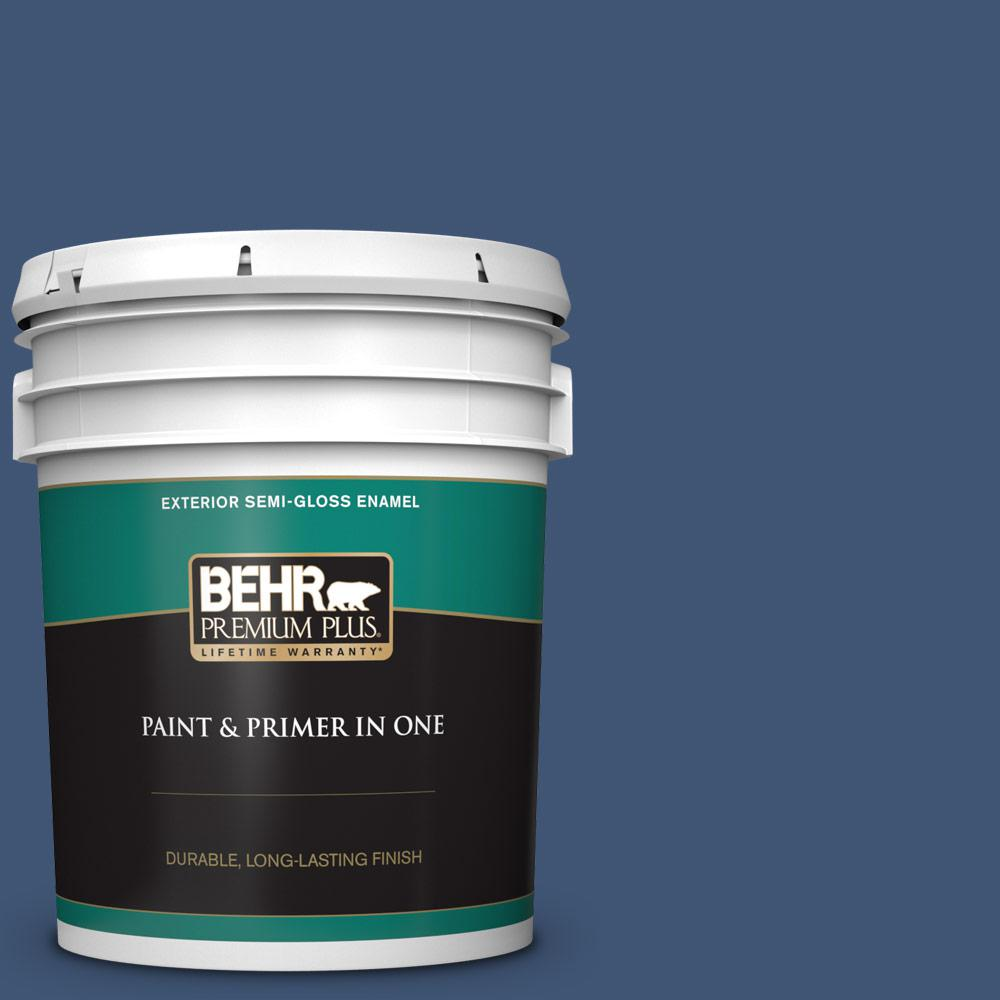 5 gal. Home Decorators Collection #HDC-CL-26 Champlain Blue Semi-Gloss Enamel Exterior Paint & Primer