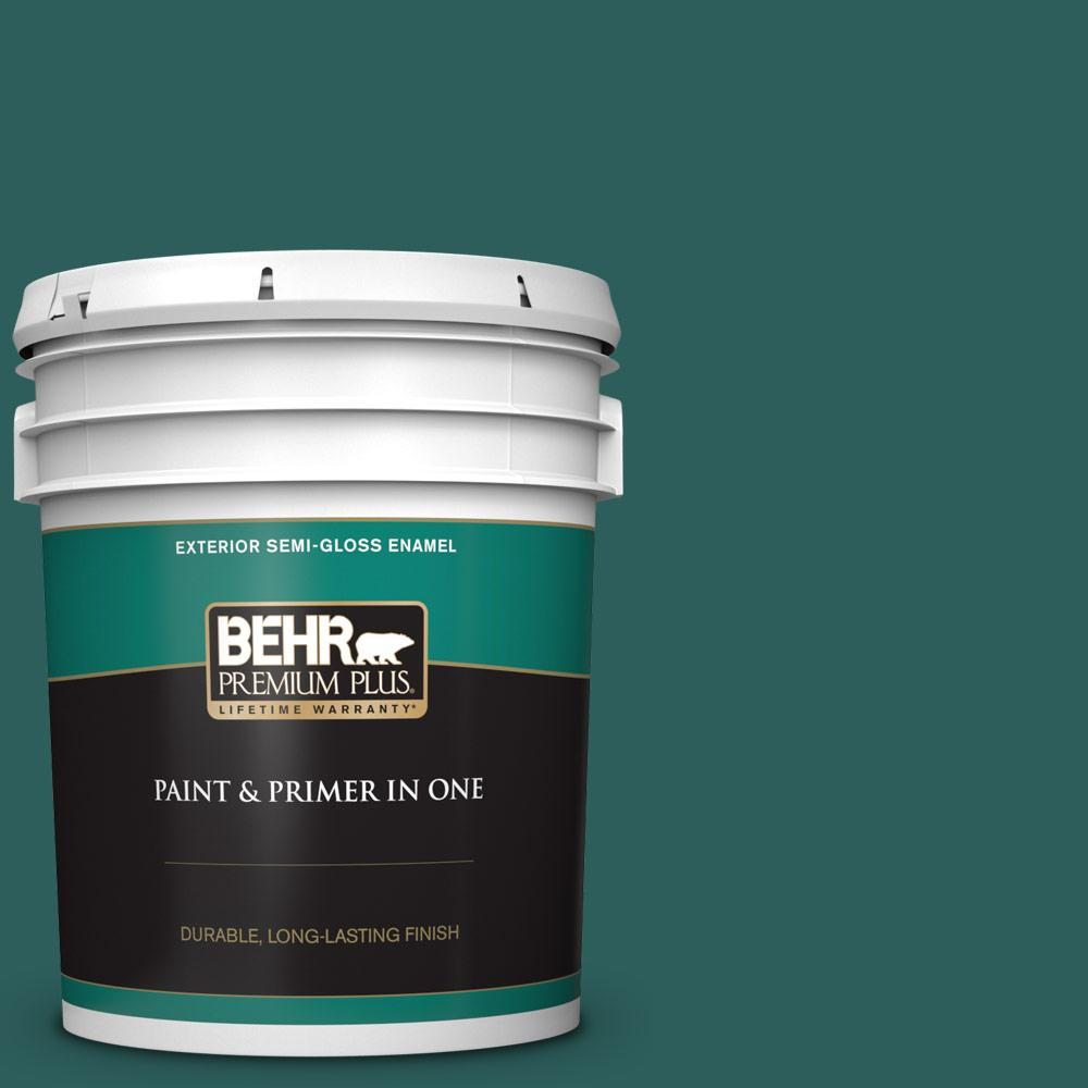 5 gal. #MQ6-5 Verdant Forest Semi-Gloss Enamel Exterior Paint and Primer in One