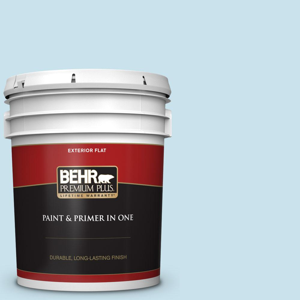 5 gal. #PPL-24 Endless Sky Flat Exterior Paint and Primer in One
