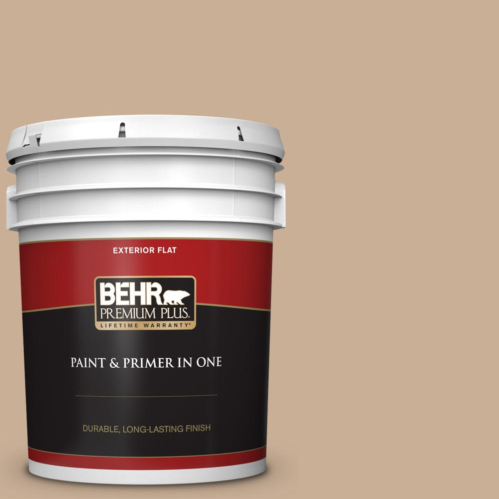 5 gal. #N260-3 Polo Tan Flat Exterior Paint and Primer in One