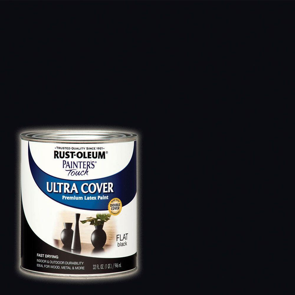 32 oz. Ultra Cover Flat Black General Purpose Paint (2-Pack)