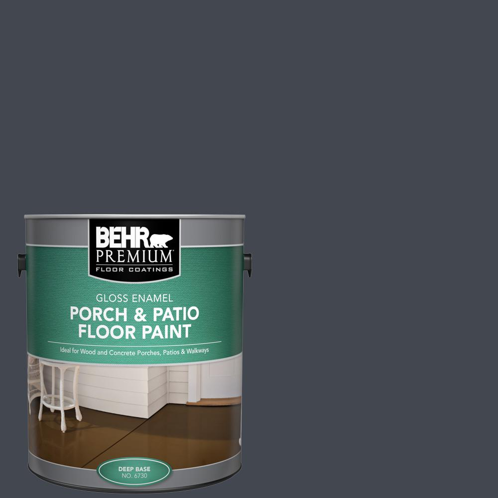 1 gal. #N490-7 Ink Black Gloss Enamel Interior/Exterior Porch and Patio Floor Paint